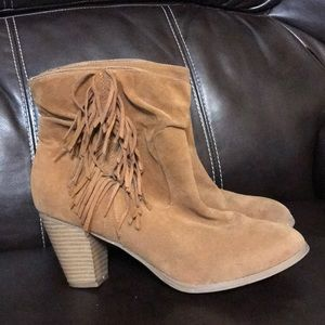 Rampage fringed heel ankle boots